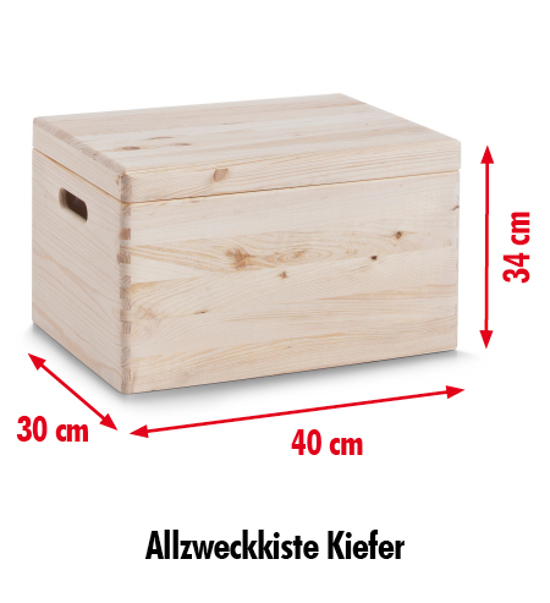 zeller allzweckkiste m deckel 40x30x34 nadelholz aufbewahrungsbox holzkiste box ebay. Black Bedroom Furniture Sets. Home Design Ideas