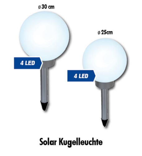 leuchtkugel solar 25cm oder 30cm kugelleuchte garten au enleuchte led kugellampe. Black Bedroom Furniture Sets. Home Design Ideas
