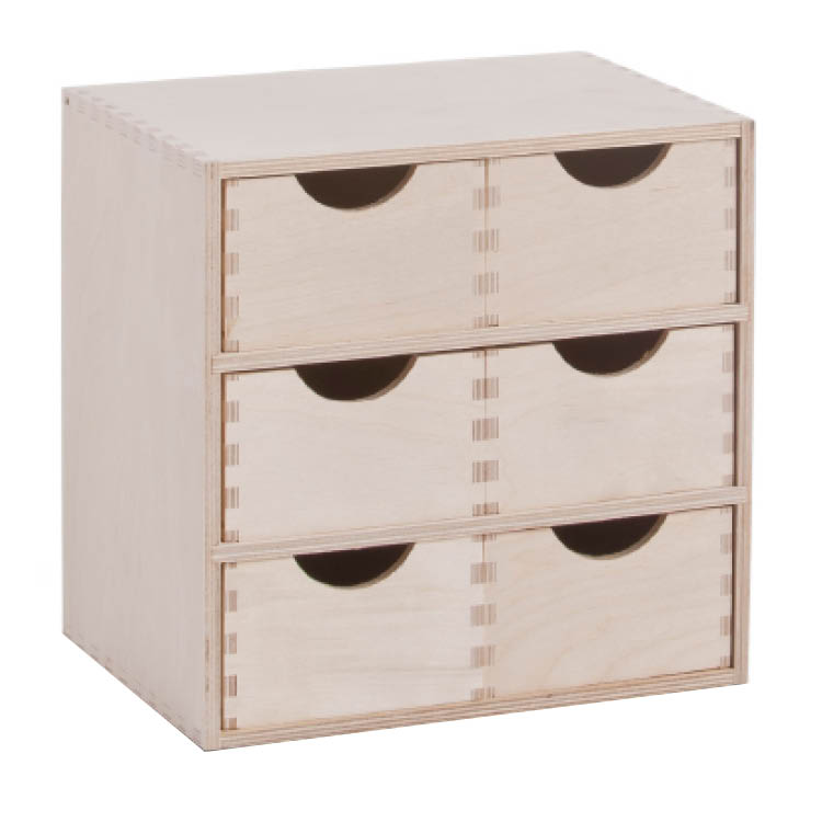 schubladenbox aufbewahrungsbox mit 6 schubladen k sten holz box holzkasten birke ebay. Black Bedroom Furniture Sets. Home Design Ideas