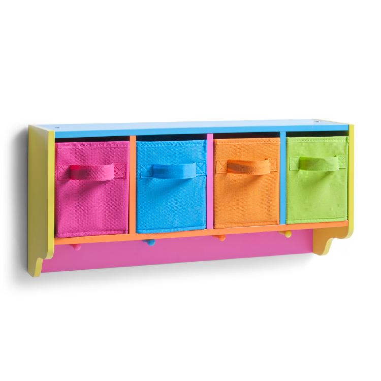bunte kinder wandgarderobe holzgarderobe kleiderhaken garderobe mit schubladen ebay. Black Bedroom Furniture Sets. Home Design Ideas