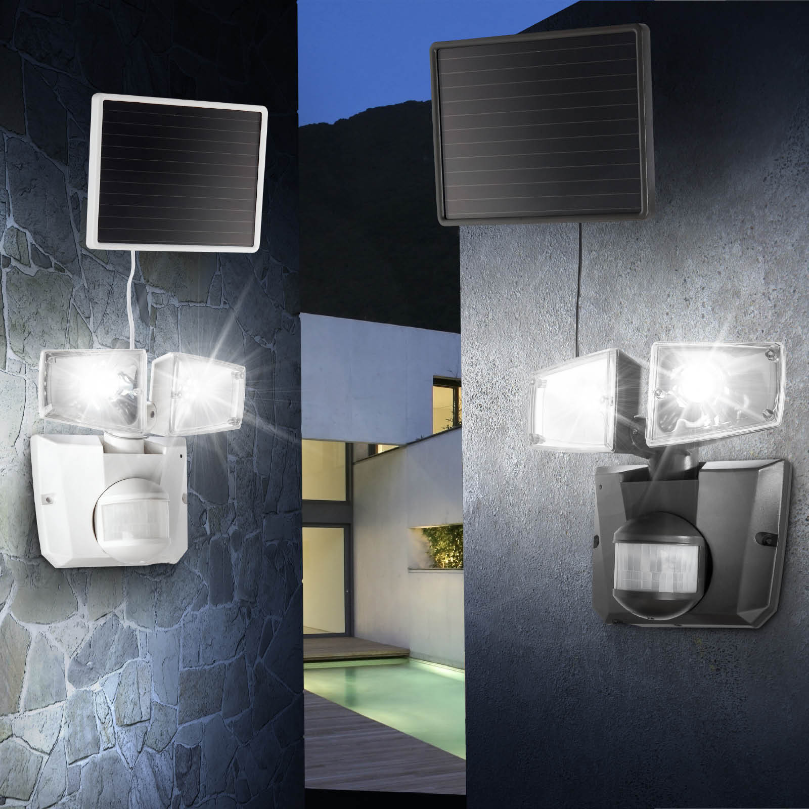 led solar wandleuchte mit bewegungsmelder solarleuchte solarstrahler solarlampe ebay. Black Bedroom Furniture Sets. Home Design Ideas