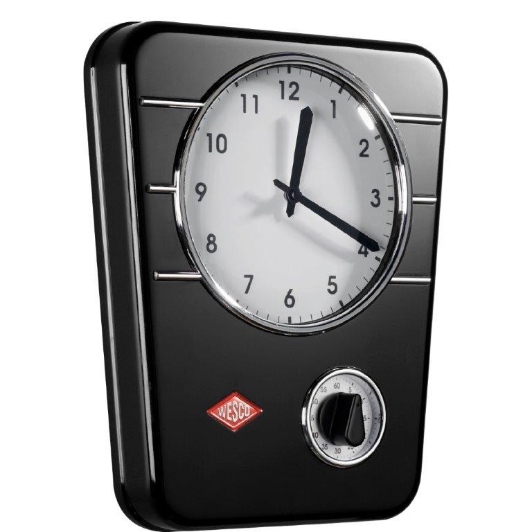 wesco k chenuhr classic line mit timer retro wanduhr wand h nge uhr ebay. Black Bedroom Furniture Sets. Home Design Ideas